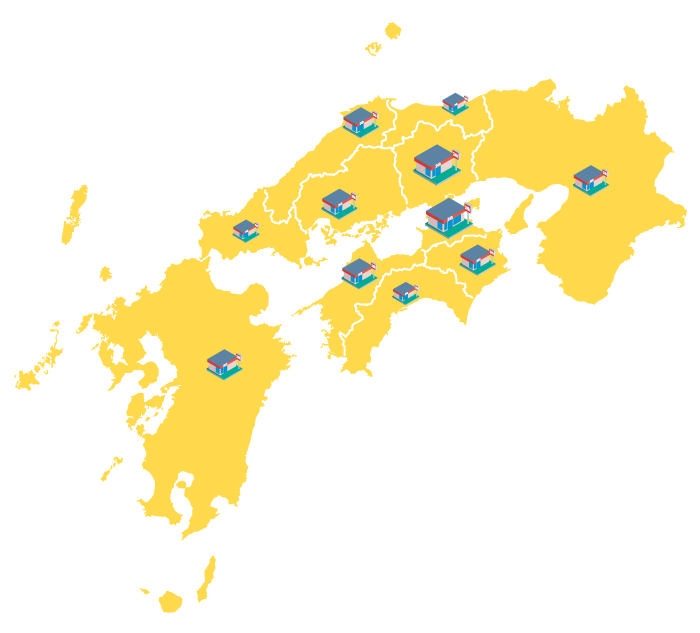中国地方、四国地方 香川県、岡山県、徳島県、愛媛県、広島県、島根県、鳥取県、山口県、高知県 九州地域、関西地域
